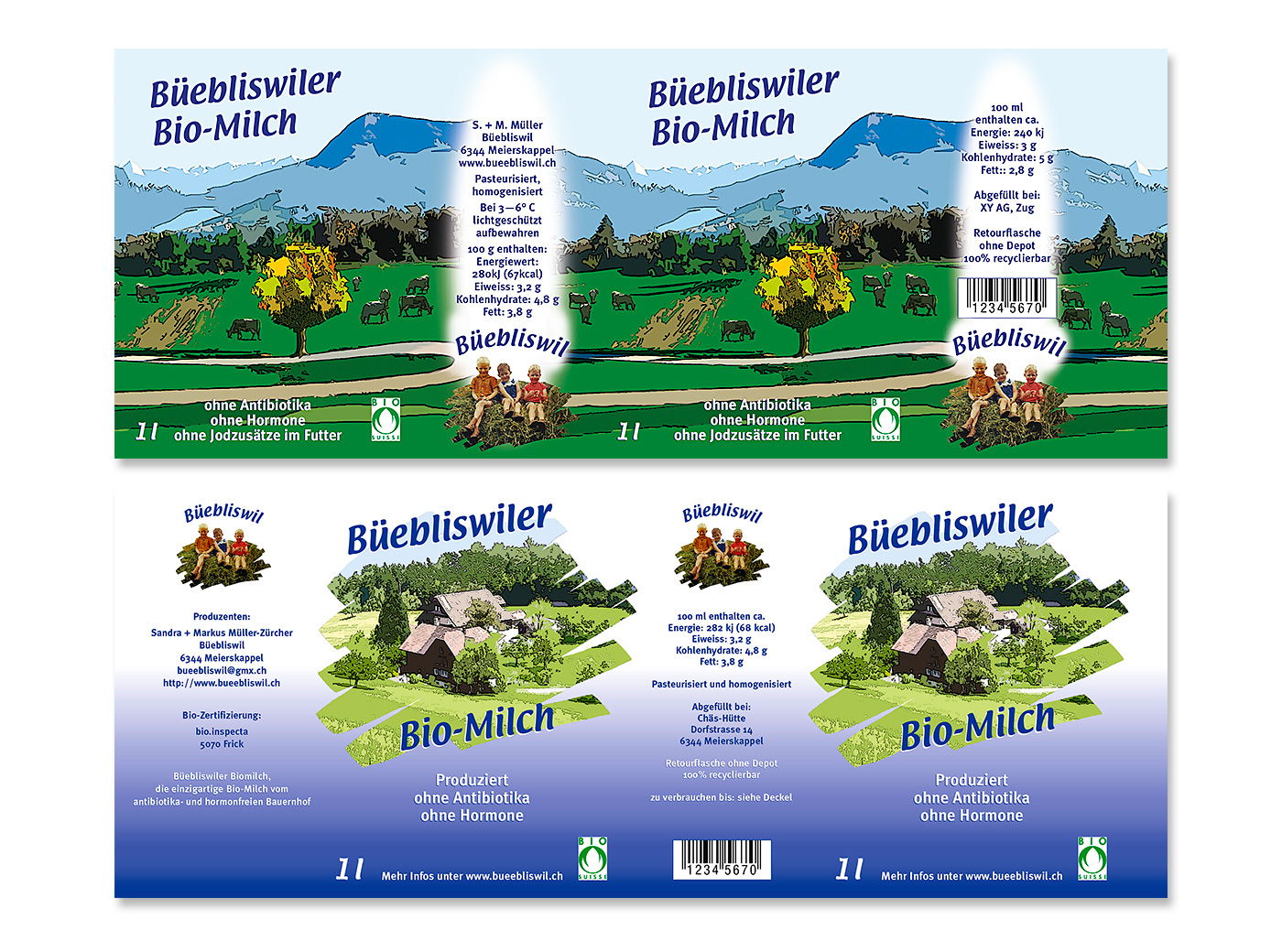 Verpackung, Familie Müller, Bio-Milch